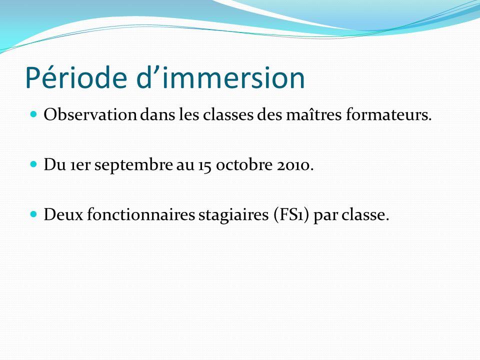 Période dimmersion Observation dans les classes des maîtres formateurs. Du 1er septembre au 15 octobre 2010. Deux fonctionnaires stagiaires (FS1) par