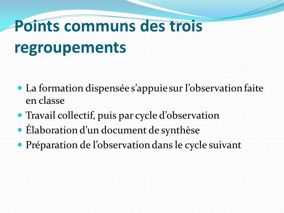 Points communs des trois regroupements La formation dispensée sappuie sur lobservation faite en classe Travail collectif, puis par cycle dobservation