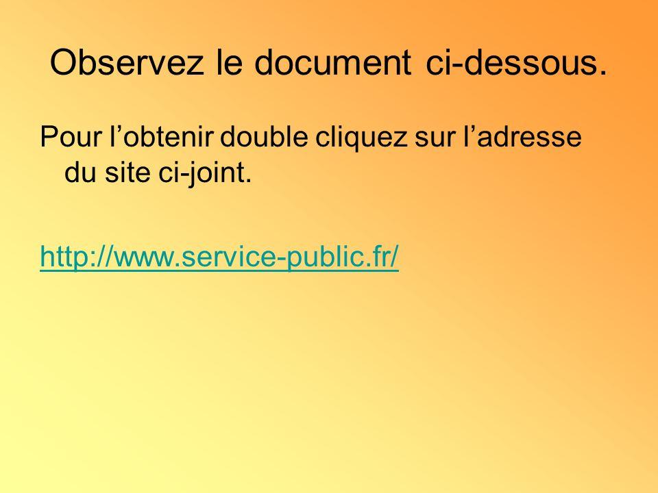 Observez le document ci-dessous.Pour lobtenir double cliquez sur ladresse du site ci-joint.