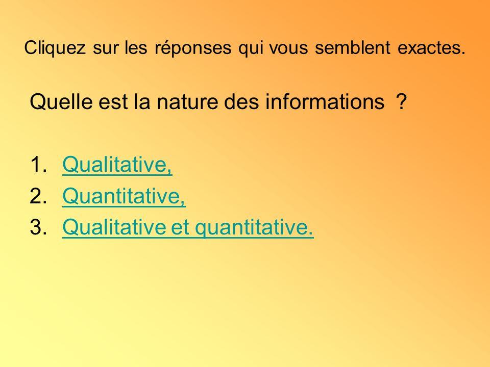 Quelle est la nature des informations .
