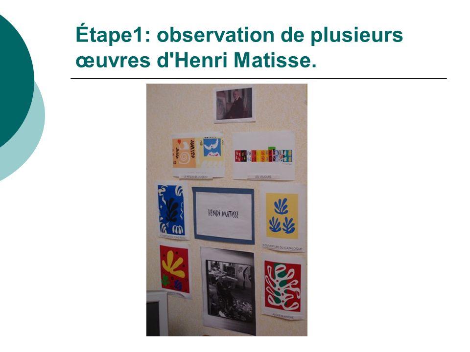 Étape1: observation de plusieurs œuvres d'Henri Matisse.