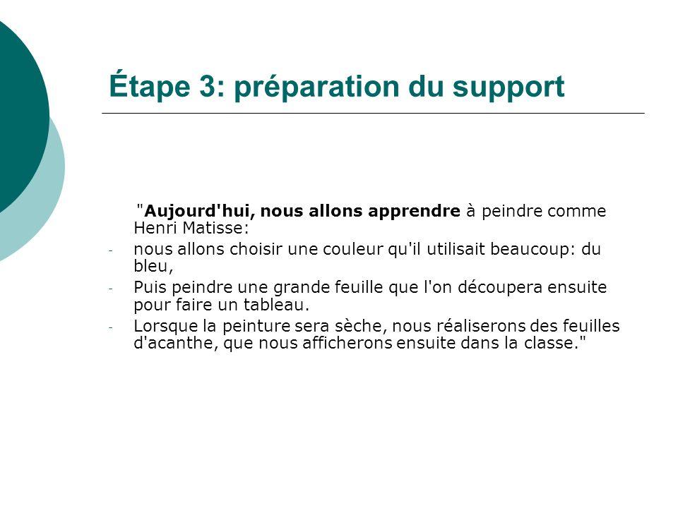Étape 3: préparation du support