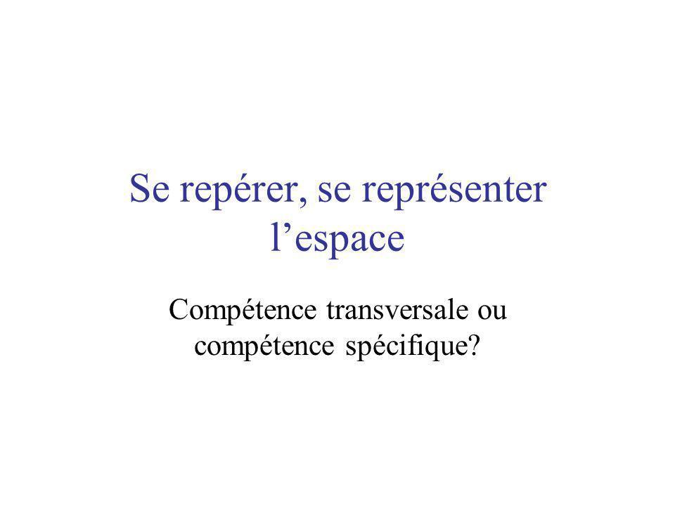 Se repérer, se représenter lespace Compétence transversale ou compétence spécifique?