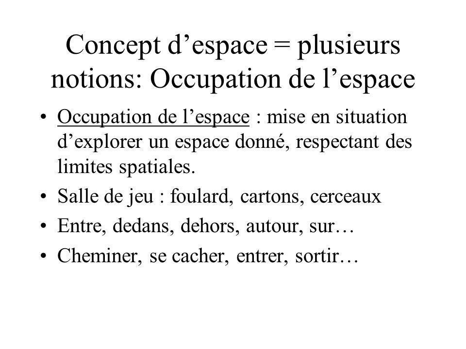 Concept despace = plusieurs notions: Occupation de lespace Occupation de lespace : mise en situation dexplorer un espace donné, respectant des limites