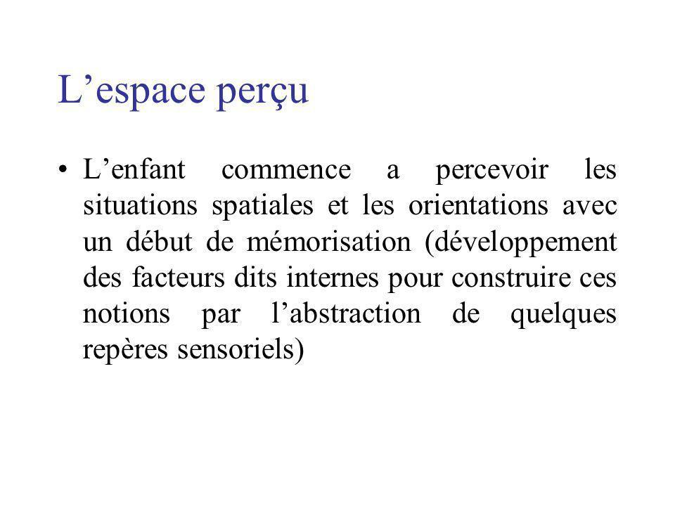 Lespace perçu Lenfant commence a percevoir les situations spatiales et les orientations avec un début de mémorisation (développement des facteurs dits