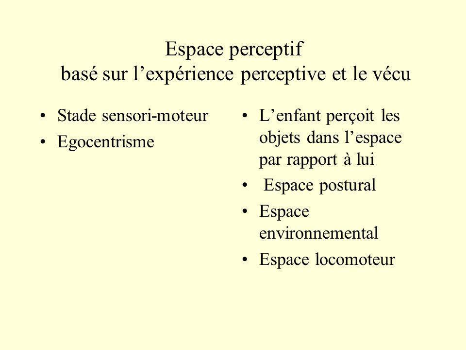 Espace perceptif basé sur lexpérience perceptive et le vécu Stade sensori-moteur Egocentrisme Lenfant perçoit les objets dans lespace par rapport à lu
