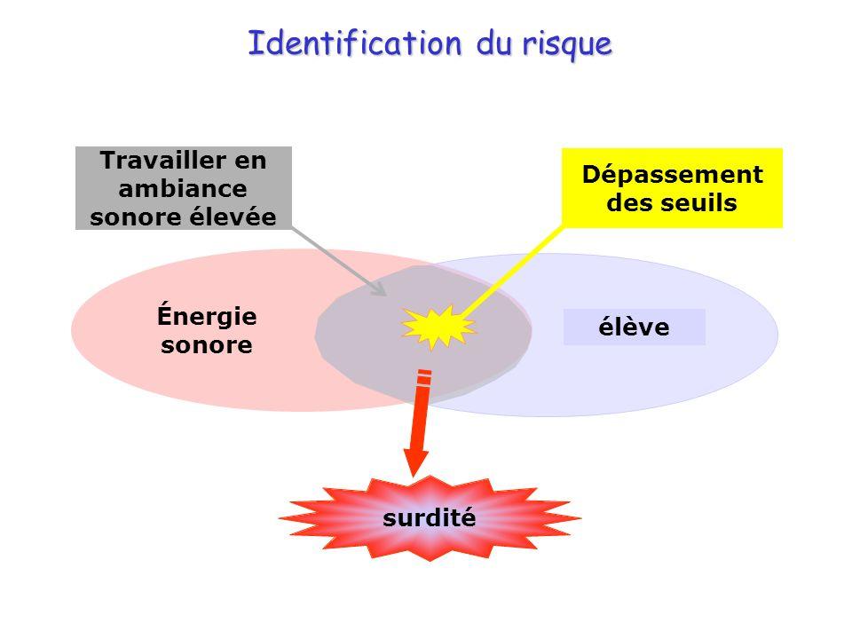 Identification du risque Énergie sonore élève surdité Dépassement des seuils Travailler en ambiance sonore élevée