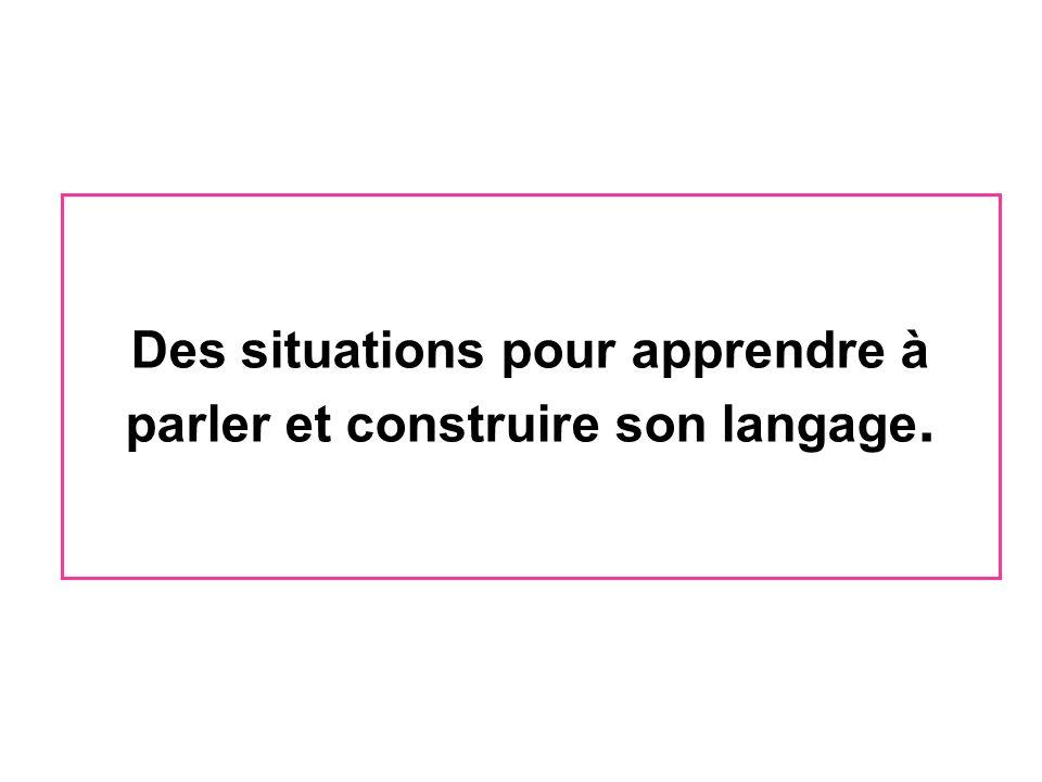 Des situations pour apprendre à parler et construire son langage.