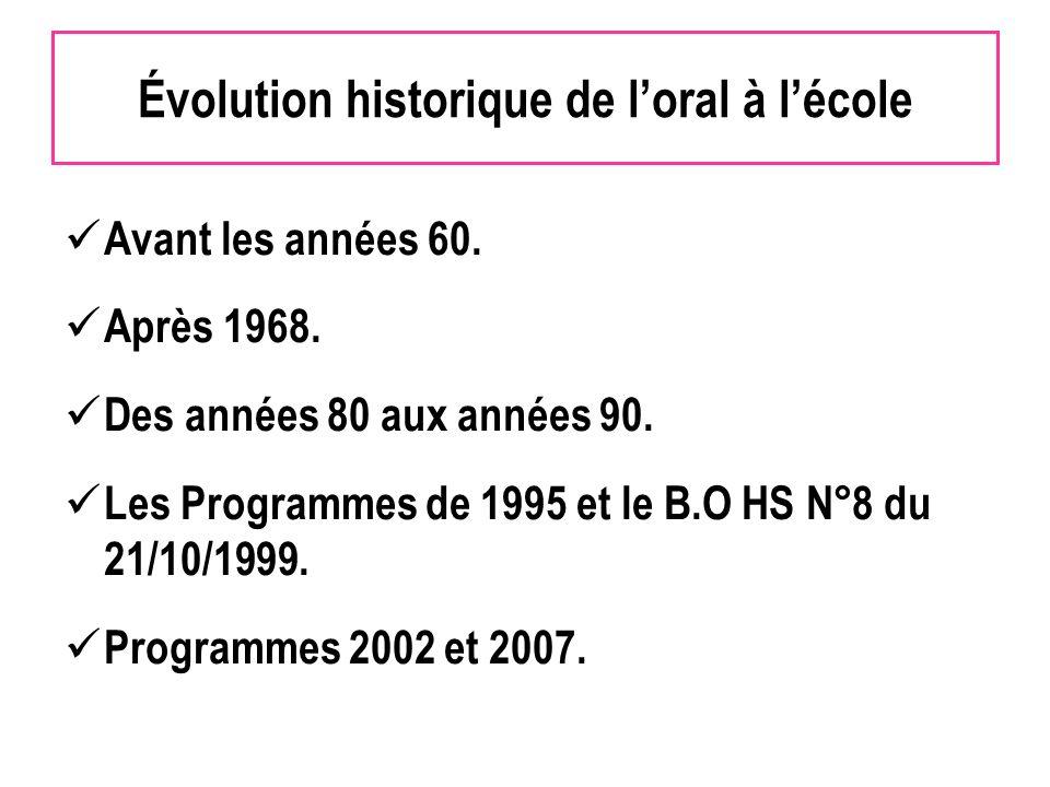 Évolution historique de loral à lécole Avant les années 60. Après 1968. Des années 80 aux années 90. Les Programmes de 1995 et le B.O HS N°8 du 21/10/