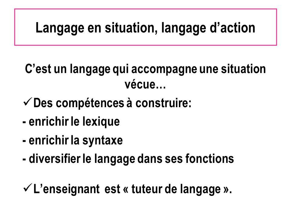 Langage en situation, langage daction Des compétences à construire: - enrichir le lexique - enrichir la syntaxe - diversifier le langage dans ses fonctions Lenseignant est « tuteur de langage ».