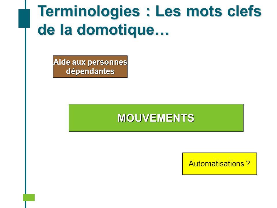 Aide aux personnes dépendantes Automatisations ? Terminologies : Les mots clefs de la domotique… MOUVEMENTS