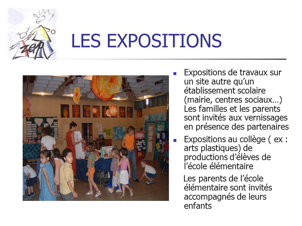 LES EXPOSITIONS Expositions de travaux sur un site autre quun établissement scolaire (mairie, centres sociaux…) Les familles et les parents sont invit