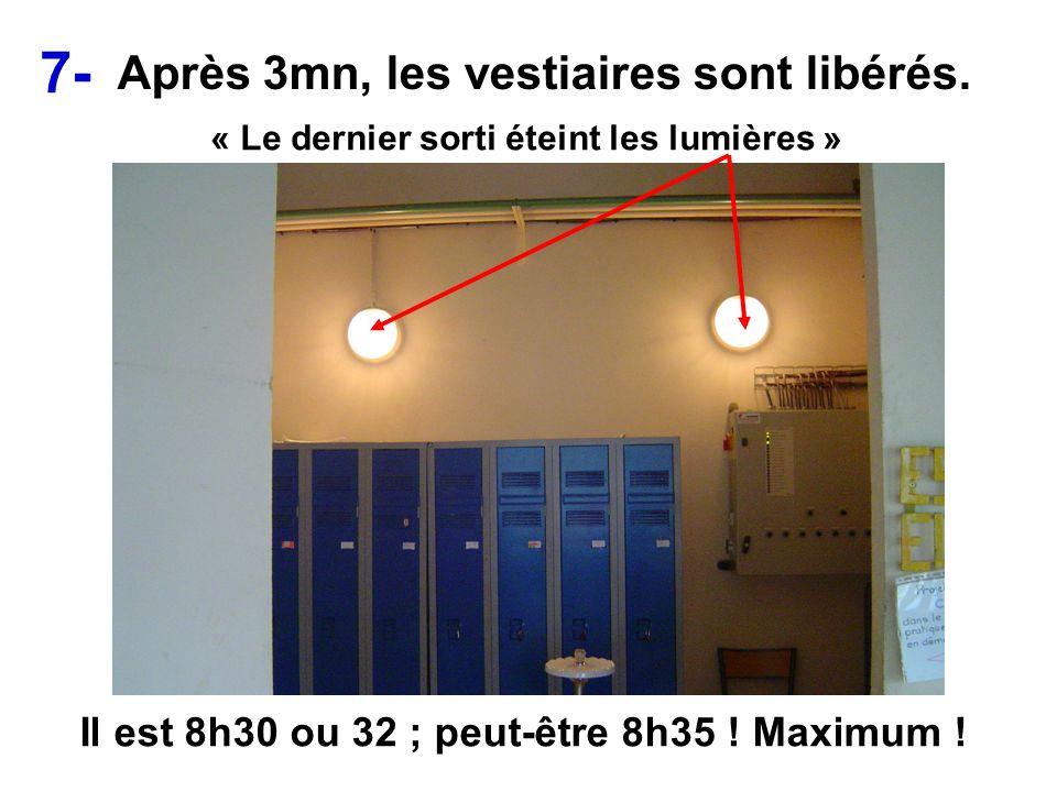Après 3mn, les vestiaires sont libérés. Il est 8h30 ou 32 ; peut-être 8h35 ! Maximum ! « Le dernier sorti éteint les lumières » 7-