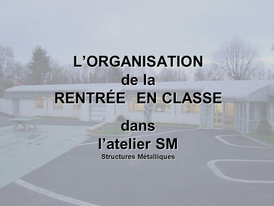 LORGANISATION de la RENTRÉE EN CLASSE dans latelier SM Structures Métalliques