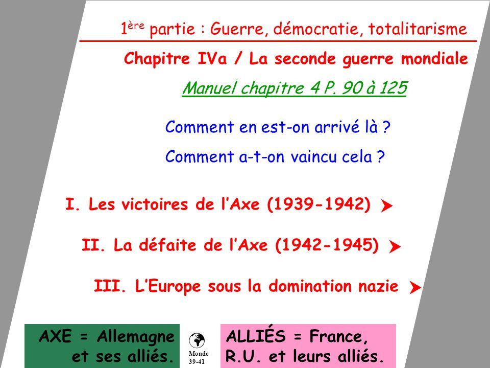 1 ère partie : Guerre, démocratie, totalitarisme Chapitre IVa / La seconde guerre mondiale Manuel chapitre 4 P. 90 à 125 Comment en est-on arrivé là ?