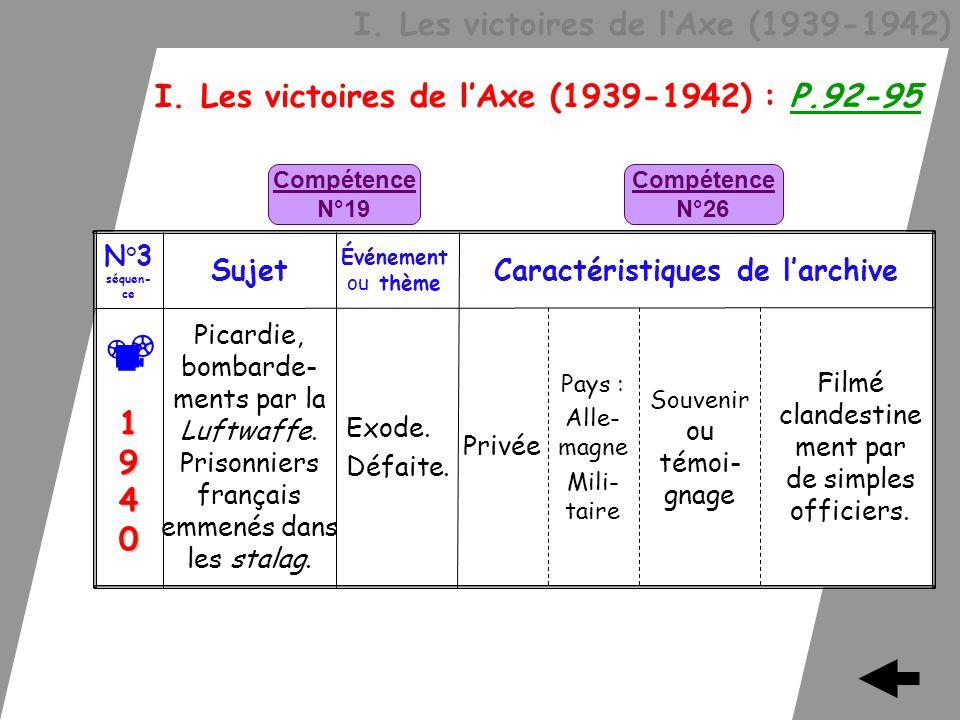 I. Les victoires de lAxe (1939-1942) I. Les victoires de lAxe (1939-1942) : P.92-95 Filmé clandestine ment par de simples officiers. Privée Exode. Déf