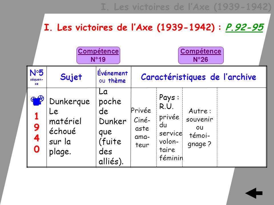 I. Les victoires de lAxe (1939-1942) I. Les victoires de lAxe (1939-1942) : P.92-95 Privée Ciné- aste ama- teur La poche de Dunker que (fuite des alli