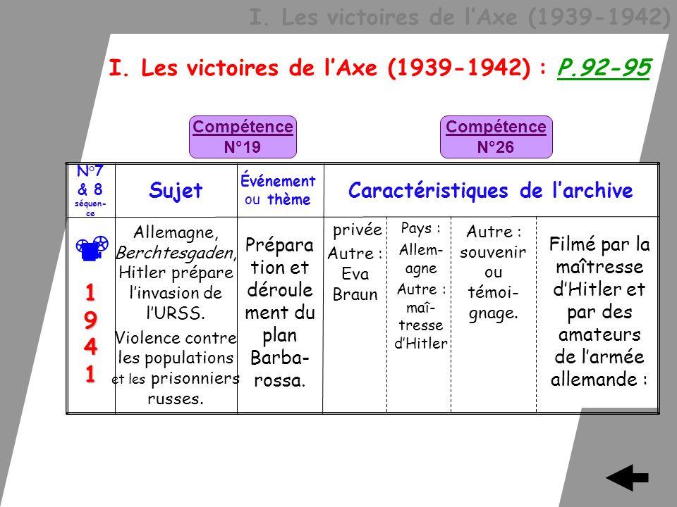 I. Les victoires de lAxe (1939-1942) I. Les victoires de lAxe (1939-1942) : P.92-95 Filmé par la maîtresse dHitler et par des amateurs de larmée allem