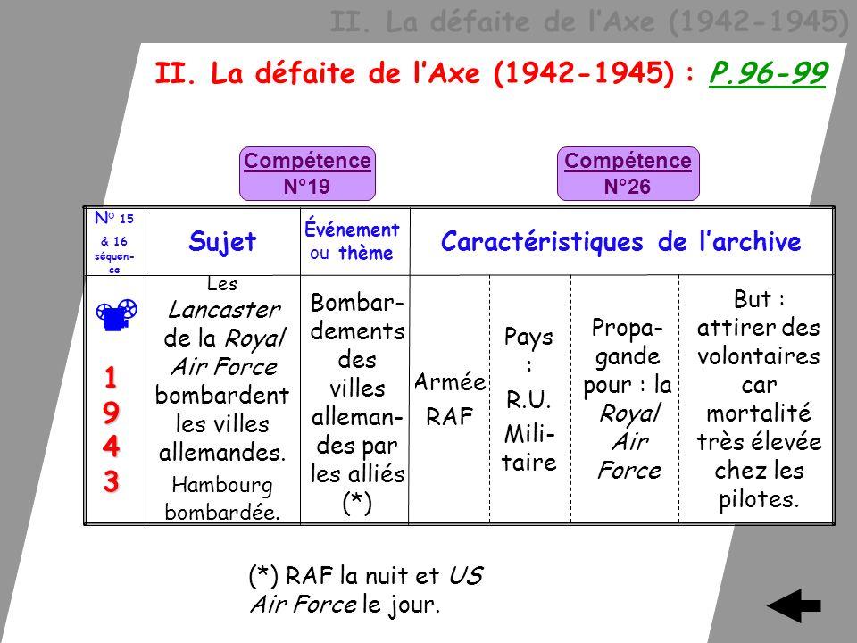 II. La défaite de lAxe (1942-1945) II. La défaite de lAxe (1942-1945) : P.96-99 But : attirer des volontaires car mortalité très élevée chez les pilot