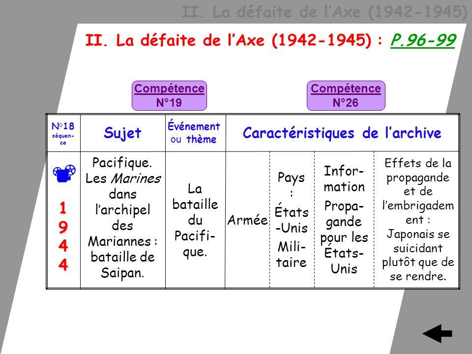 II. La défaite de lAxe (1942-1945) II. La défaite de lAxe (1942-1945) : P.96-99 Effets de la propagande et de lembrigadem ent : Japonais se suicidant