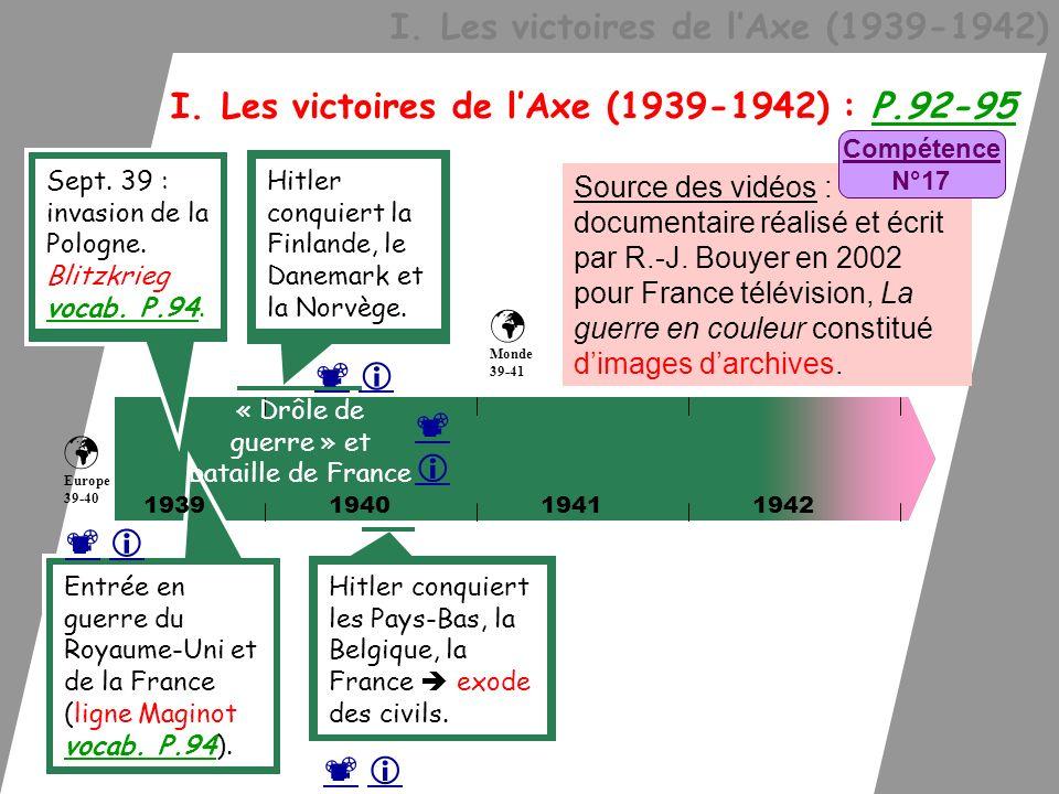 I. Les victoires de lAxe (1939-1942) I. Les victoires de lAxe (1939-1942) : P.92-95 194019411942 Sept. 39 : invasion de la Pologne. Blitzkrieg vocab.