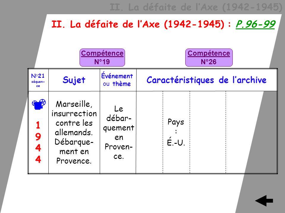 II. La défaite de lAxe (1942-1945) II. La défaite de lAxe (1942-1945) : P.96-99 Le débar- quement en Proven- ce. Marseille, insurrection contre les al