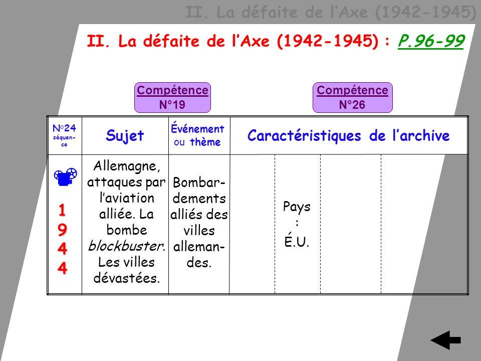 II. La défaite de lAxe (1942-1945) II. La défaite de lAxe (1942-1945) : P.96-99 Bombar- dements alliés des villes alleman- des. Allemagne, attaques pa