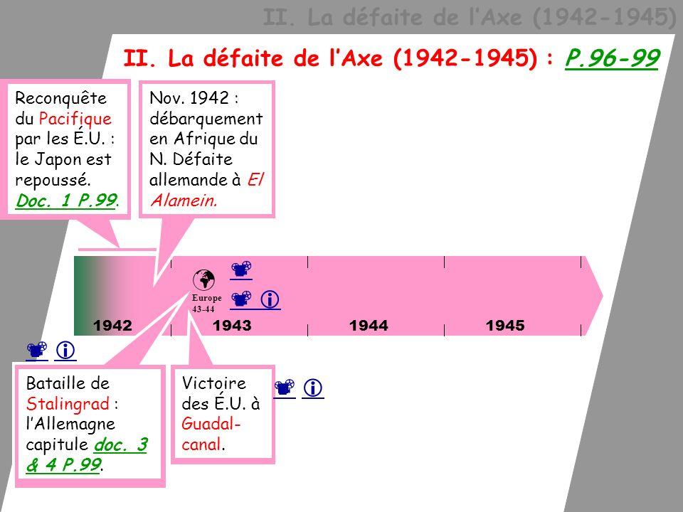 II. La défaite de lAxe (1942-1945) II. La défaite de lAxe (1942-1945) : P.96-99 1942 Europe 43-44 Reconquête du Pacifique par les É.U. : le Japon est