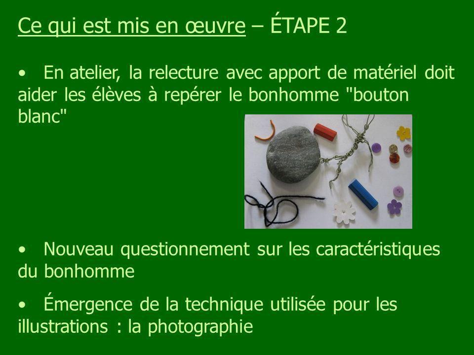 Ce qui est mis en œuvre – ÉTAPE 2 En atelier, la relecture avec apport de matériel doit aider les élèves à repérer le bonhomme bouton blanc Nouveau questionnement sur les caractéristiques du bonhomme Émergence de la technique utilisée pour les illustrations : la photographie