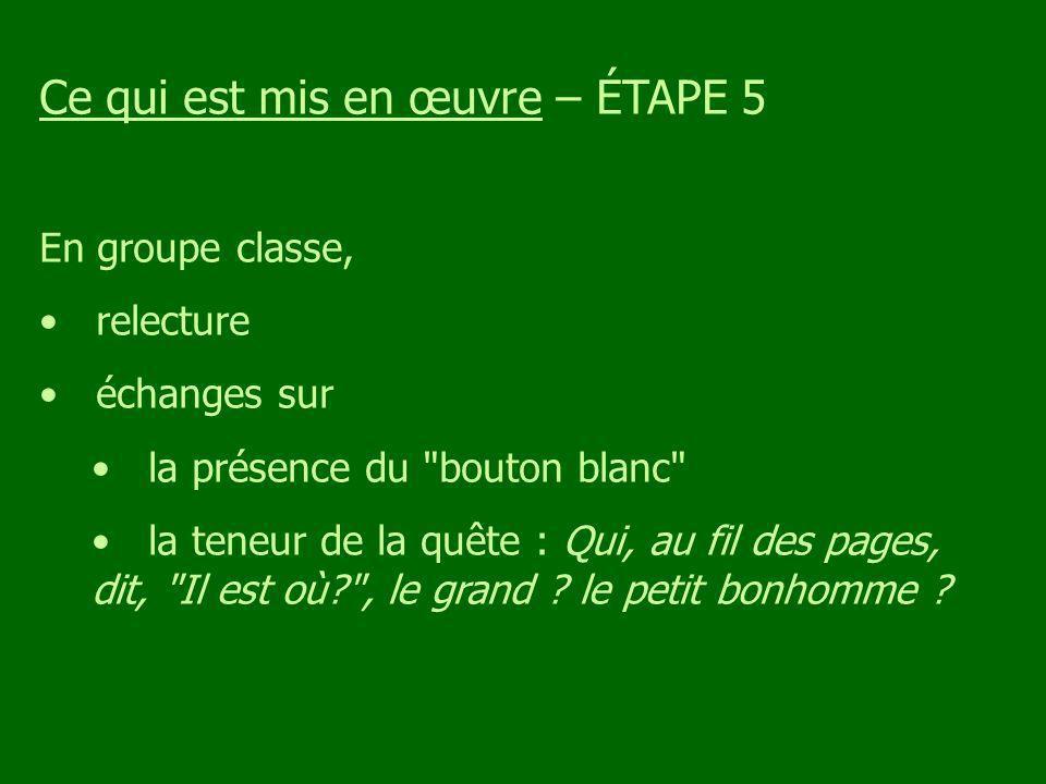 Ce qui est mis en œuvre – ÉTAPE 5 En groupe classe, relecture échanges sur la présence du bouton blanc la teneur de la quête : Qui, au fil des pages, dit, Il est où? , le grand .