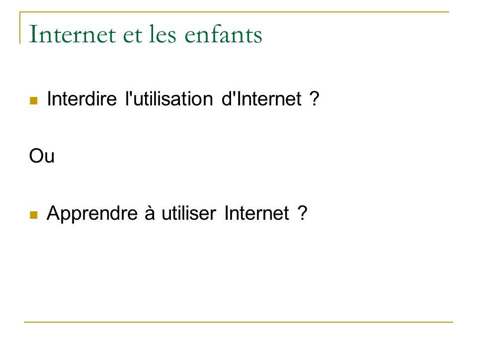 Internet et les enfants Interdire l'utilisation d'Internet ? Ou Apprendre à utiliser Internet ?