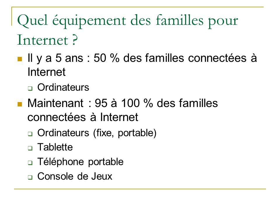 Quel équipement des familles pour Internet ? Il y a 5 ans : 50 % des familles connectées à Internet Ordinateurs Maintenant : 95 à 100 % des familles c