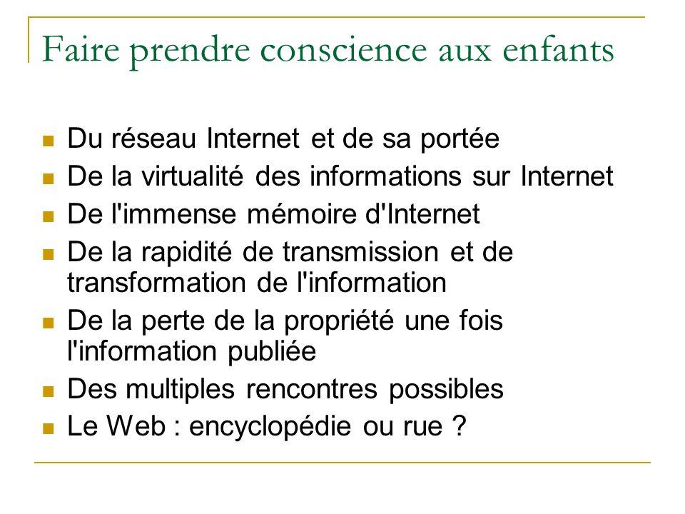 Faire prendre conscience aux enfants Du réseau Internet et de sa portée De la virtualité des informations sur Internet De l'immense mémoire d'Internet