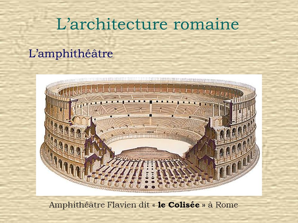 Larchitecture romaine Lamphithéâtre Amphithéâtre Flavien dit « le Colisée » à Rome