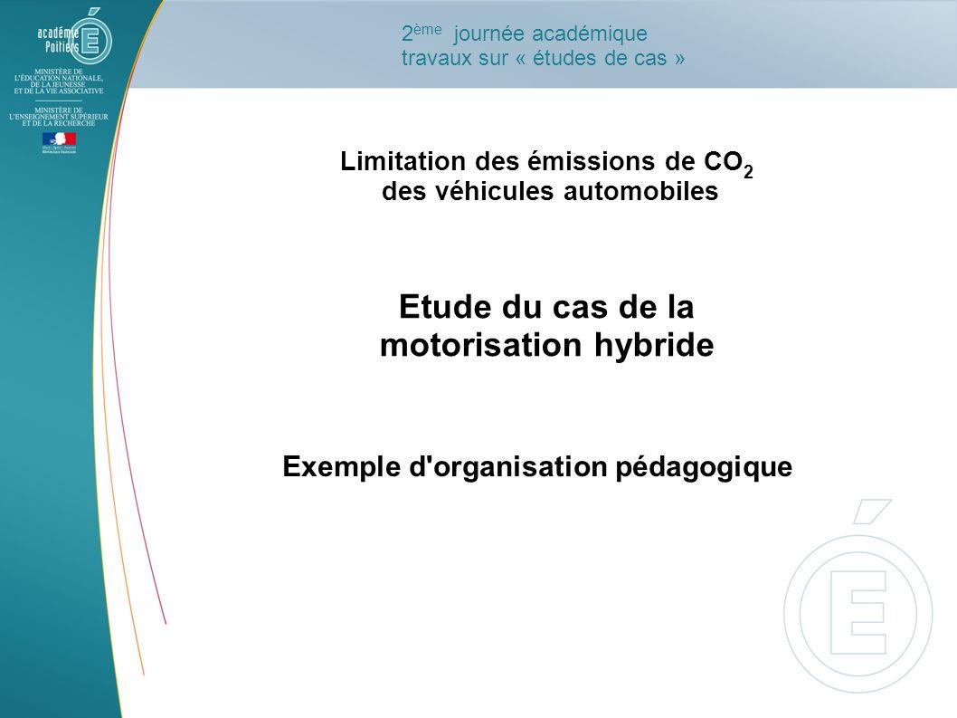 Limitation des émissions de CO 2 des véhicules automobiles Etude du cas de la motorisation hybride Exemple d'organisation pédagogique 2 ème journée ac
