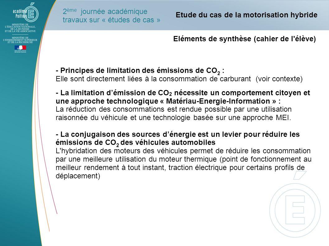 Eléments de synthèse (cahier de l'élève) - Principes de limitation des émissions de CO 2 : Elle sont directement liées à la consommation de carburant