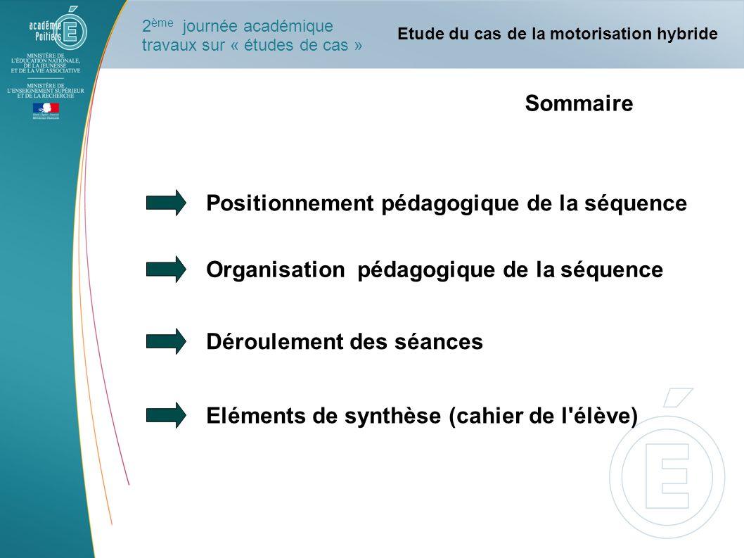 Positionnement pédagogique de la séquence Organisation pédagogique de la séquence Déroulement des séances Eléments de synthèse (cahier de l'élève) Etu