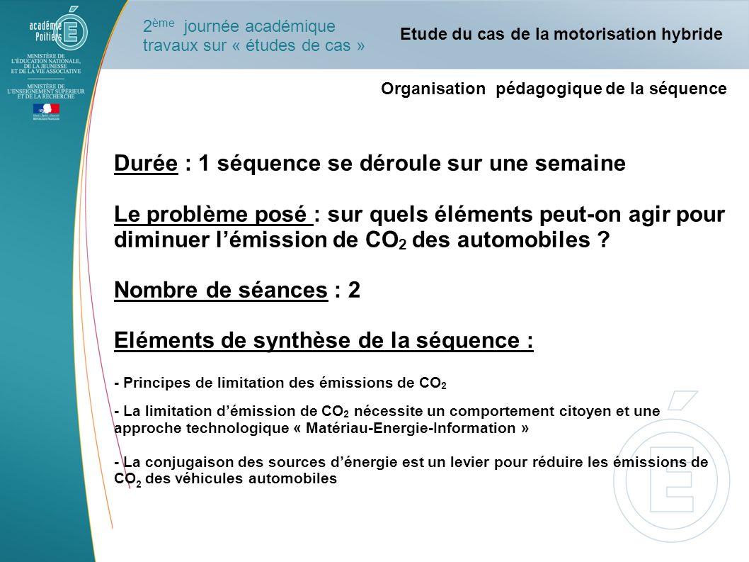 Organisation pédagogique de la séquence Durée : 1 séquence se déroule sur une semaine Le problème posé : sur quels éléments peut-on agir pour diminuer