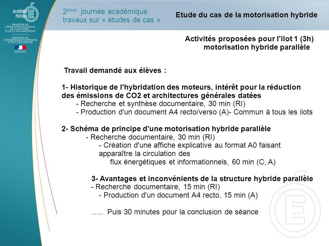 Activités proposées pour l'ilot 1 (3h) motorisation hybride parallèle Travail demandé aux élèves : 1- Historique de l'hybridation des moteurs, intérêt