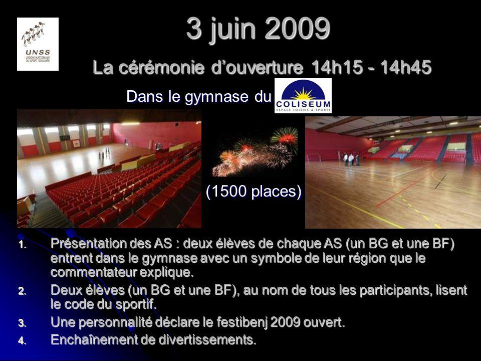 3 juin 2009 La cérémonie douverture 14h15 - 14h45 1.