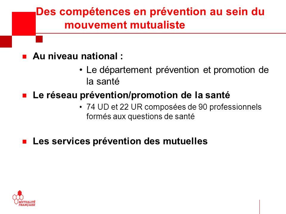 Des compétences en prévention au sein du mouvement mutualiste n Au niveau national : Le département prévention et promotion de la santé n Le réseau pr