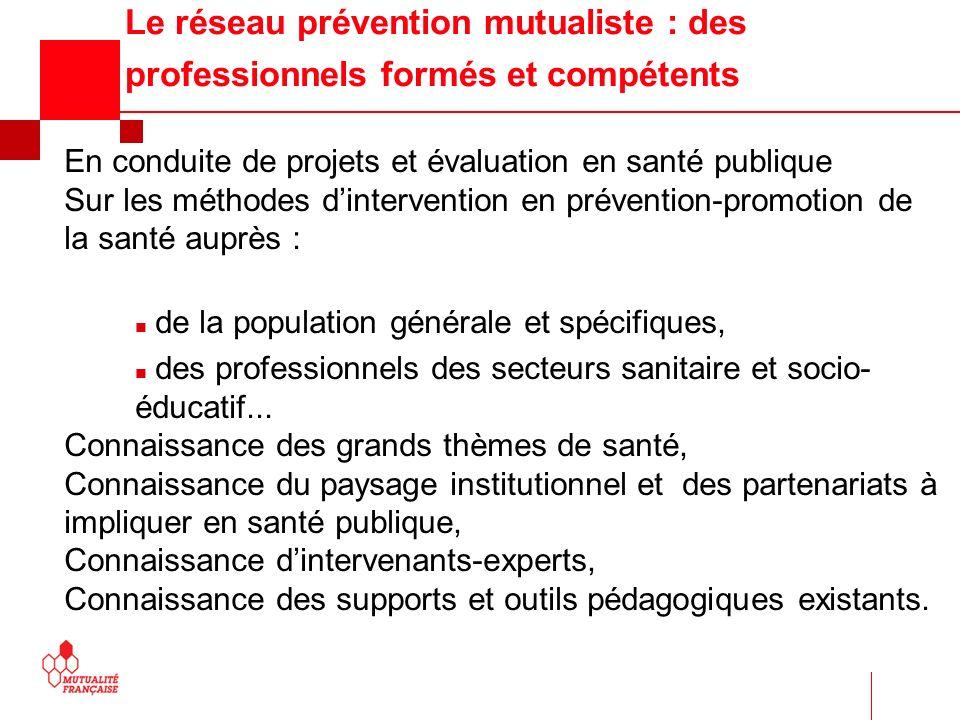 Le réseau prévention mutualiste : des professionnels formés et compétents En conduite de projets et évaluation en santé publique Sur les méthodes dint
