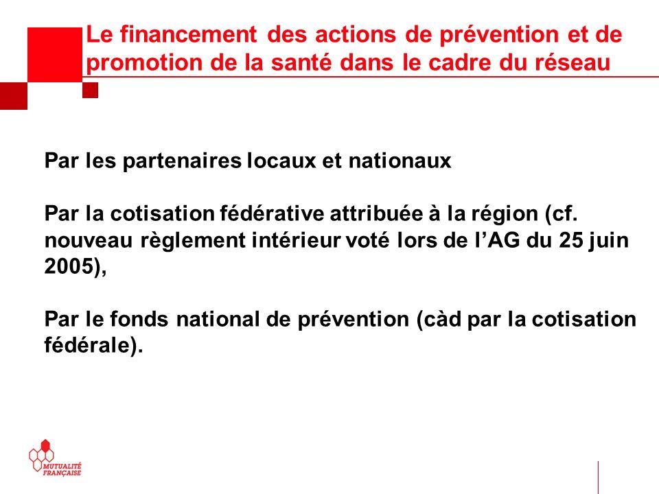 Le financement des actions de prévention et de promotion de la santé dans le cadre du réseau Par les partenaires locaux et nationaux Par la cotisation