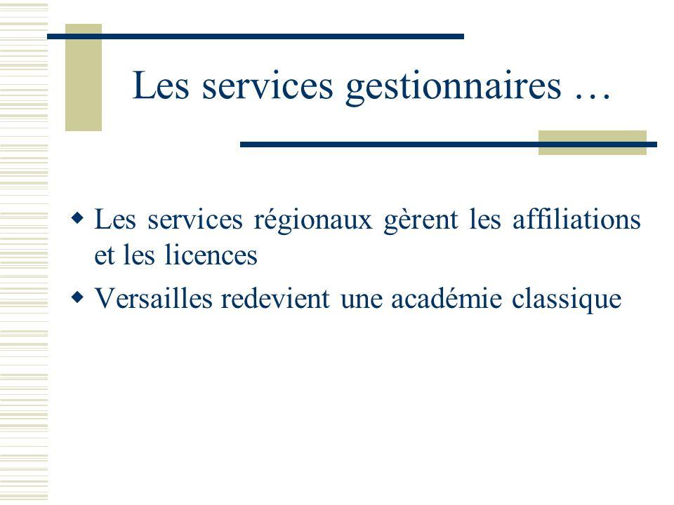 Les services gestionnaires … Les services régionaux gèrent les affiliations et les licences Versailles redevient une académie classique