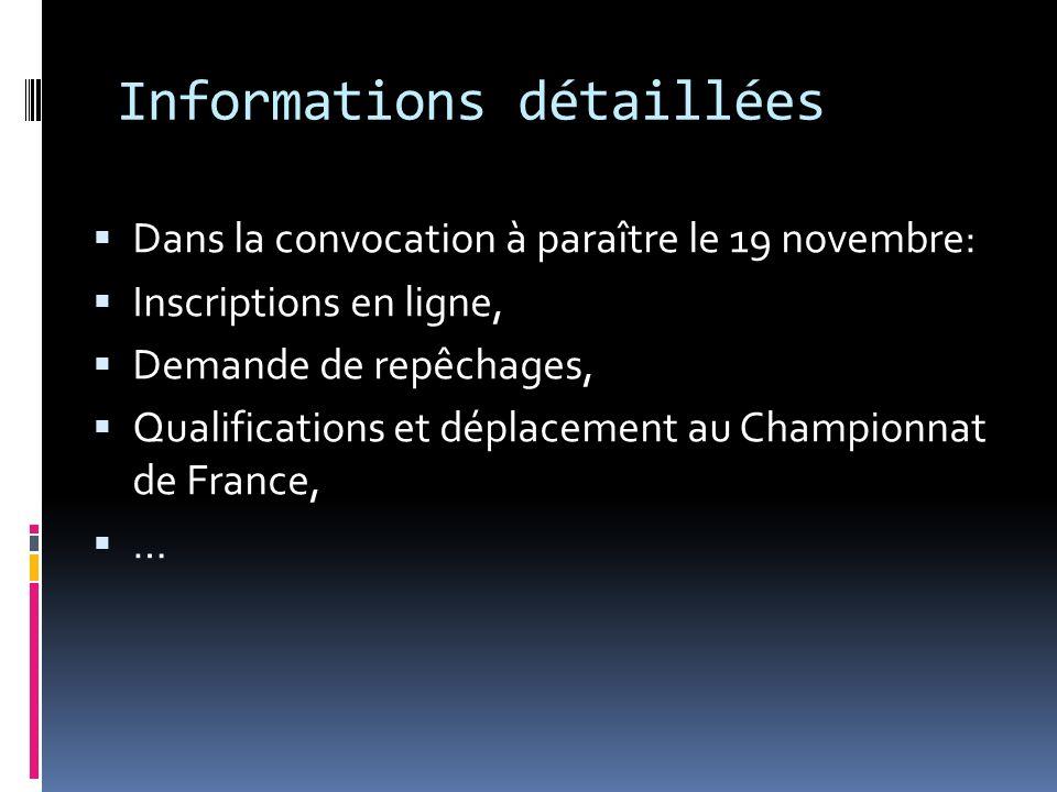 Informations détaillées Dans la convocation à paraître le 19 novembre: Inscriptions en ligne, Demande de repêchages, Qualifications et déplacement au Championnat de France, …