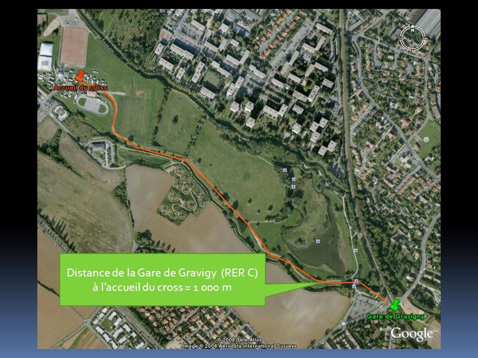 Distance de la Gare de Gravigy (RER C) à laccueil du cross = 1 000 m