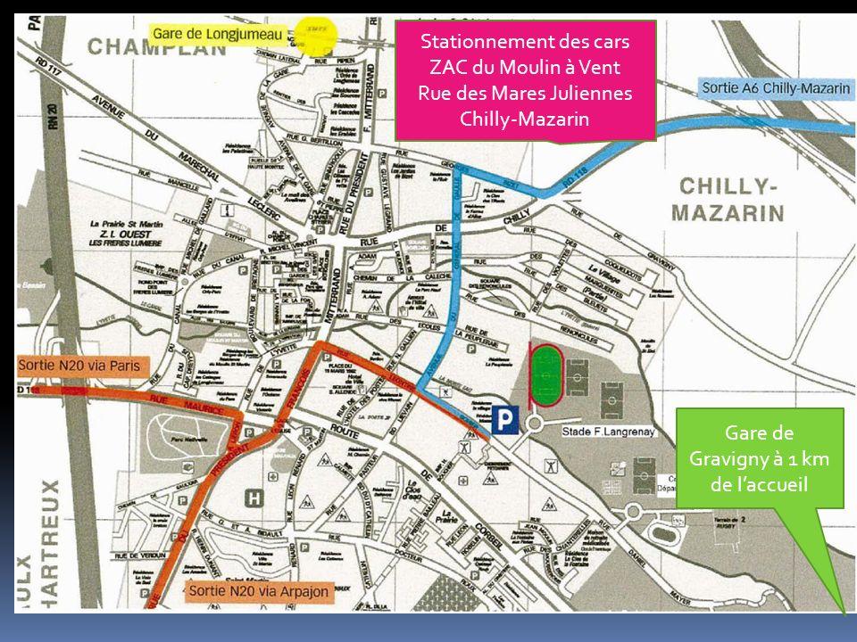 Gare de Gravigny à 1 km de laccueil Stationnement des cars ZAC du Moulin à Vent Rue des Mares Juliennes Chilly-Mazarin