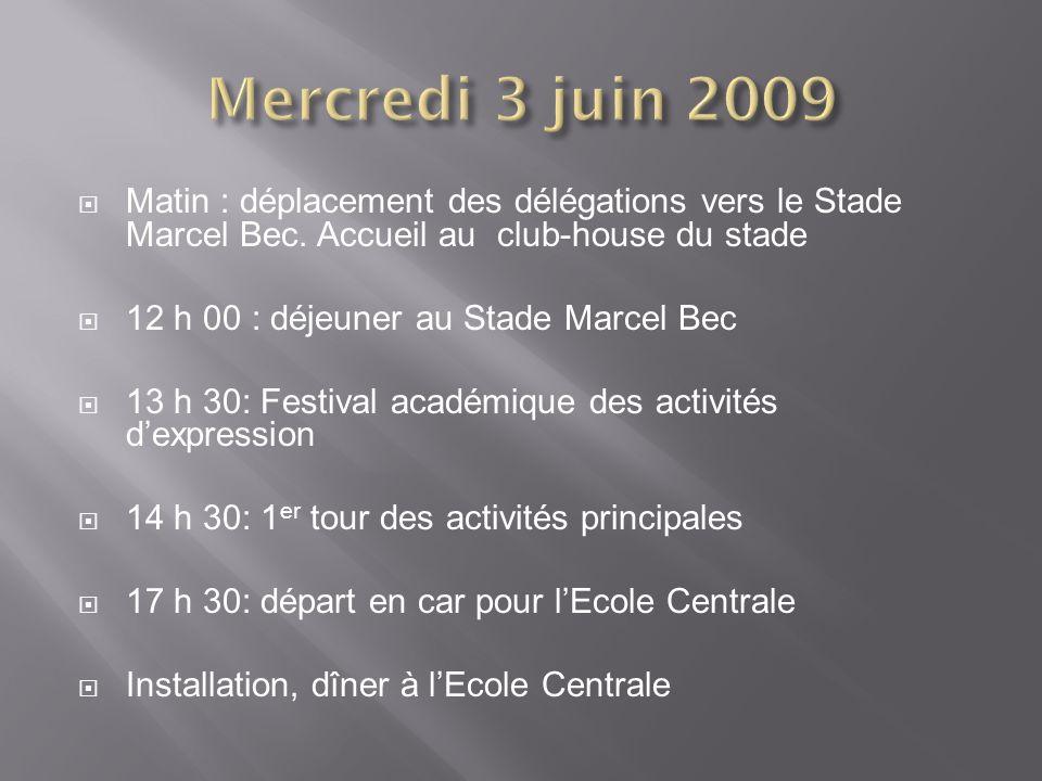 Matin : déplacement des délégations vers le Stade Marcel Bec. Accueil au club-house du stade 12 h 00 : déjeuner au Stade Marcel Bec 13 h 30: Festival