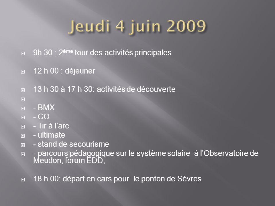 9h 30 : 2 ème tour des activités principales 12 h 00 : déjeuner 13 h 30 à 17 h 30: activités de découverte - BMX - CO - Tir à larc - ultimate - stand