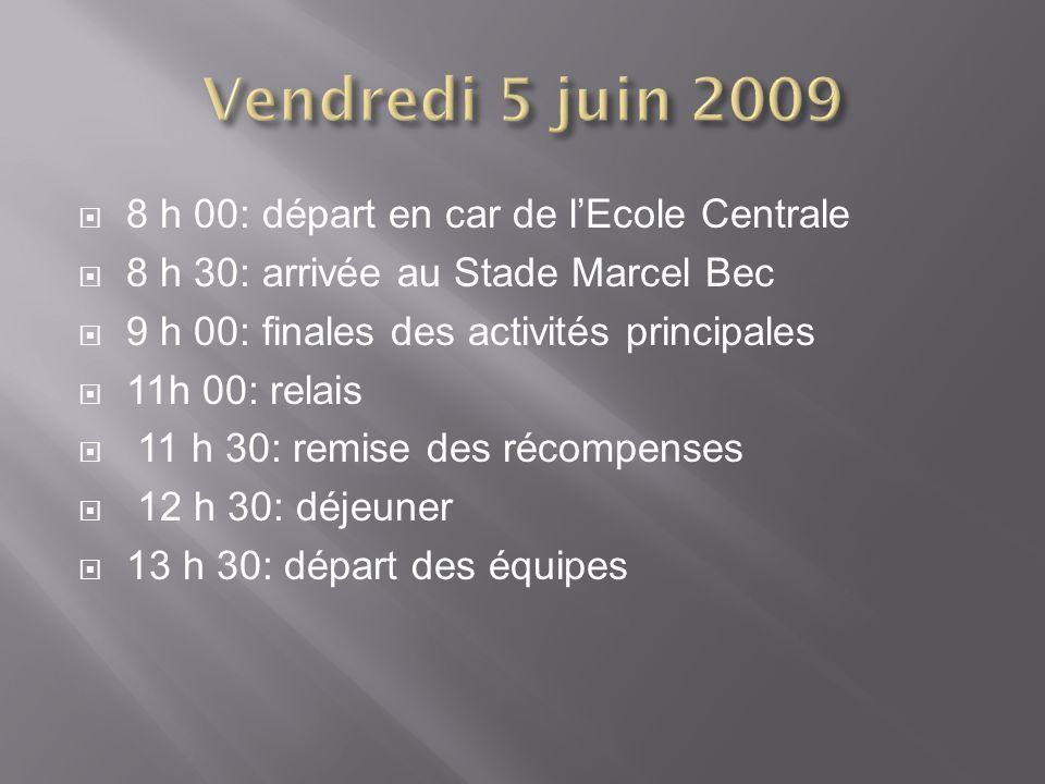 8 h 00: départ en car de lEcole Centrale 8 h 30: arrivée au Stade Marcel Bec 9 h 00: finales des activités principales 11h 00: relais 11 h 30: remise